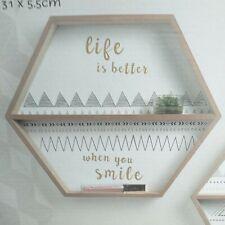 SET of 2 Patterned Hexagonal Shelves Wooden Wall mounted Shelves Storage & decor
