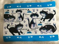 NEW~13 x 17 Easy Clean Purrr pussy cat kitty Print Food Dish Pet Cat Placemat