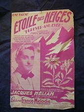 Partition Etoile des neiges Jacques Hélian  Music Sheet 1947
