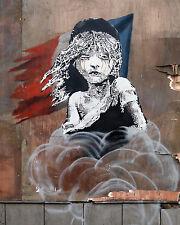banksy Les miserables street graffiti art print poster stencil painting france