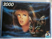 Vintage Schmidt Puzzle Dreamings Beautiful Girl Cat Leopard Tiger Jigsaw 2000