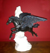 More details for nemisis now stunning pegasus black flying horse hand painted cold cast resin