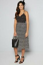 Polka dot midi dress with fascinator blk uk size 22  bnip blk