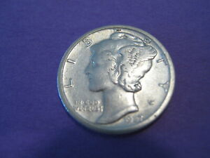 1927 S Mercury Dime, diagonal bands visible, face & neck smooth.