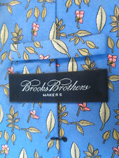 Men's BROOKS BROTHERS MAKERS Blue Silk Tie Leaves and Flowers Read Desc.