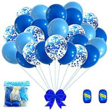 Aule Royal Blue And Baby Balloons 12 Inch Premium Latex Confetti &amp 64 Ft -