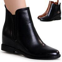 Damen Keilabsatz Stiefeletten Hidden Wedges Ankle Boots Chelsea Boots