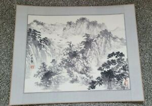 Vintage Chinese Painting Black Ink Mountain Scenery Signed & Stamped