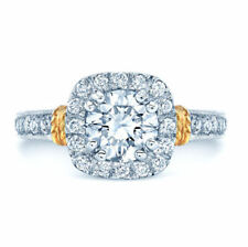 Round Diamond Platinum Engagement Ring Cushion Halo Solitaire 18k Yellow Gold