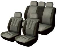 Sumex Universal 12pc Soft Microfibre Pad Car Seat Covers Full Set - Black & Grey