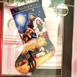 """The Gold Collection Holy Night Stocking Cross Stitch 16"""" Richard Jesse Watson 20"""