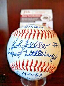 "Bob Feller Signed Auto Baseball 10 Stat HOF Indians JSA ""Support Little League"""
