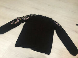 Warehouse Black Jumper With Floral Embroidered Sleeves Size 12