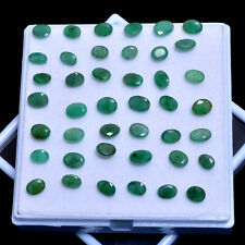 42 Pcs Natural Emerald Lot Colombian Untreated Sparkling Green Gems 8mm-9mm