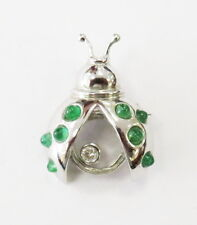 18k White Gold Diamond and Emerald Lady Bug Pin Brooch Necklace ~ 6.6g
