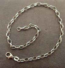 9ct White Gold Anklet - Belcher Link - 25cm