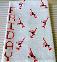 Vintage mid century linen fabric cross stitch towel red black brooms, Friday!