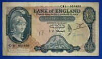 "1957 British Bank of England £5, Banknote, O'Brien Prefix ""C18"" [20654]"