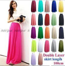 Women's Double Layer Chiffon Pleated Retro Elastic Waist Maxi Long Dress Skirt