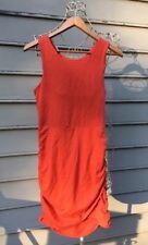ATHLETA Seeker Tank Dress Orange Ruched Gathered Built In Bra Size SP