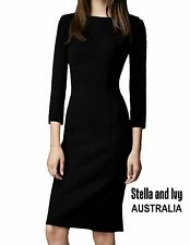 BLACK BODYCON COCKTAIL DRESS SIZE 12 AU WOMENS NEW