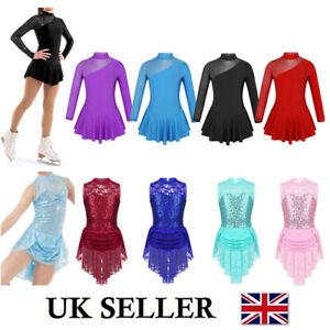 UK Kids Girls Roller Ice Skating Tutu Dress Ballet Gym Leotard Dancewear Costume