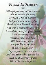 Friend In Heaven Memorial Graveside Poem Card & Free Ground Stake F152