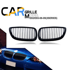 For BMW E92 E93 06-09 M3 328i 335i Glossy Black Front Kidney Grille Grill Cover