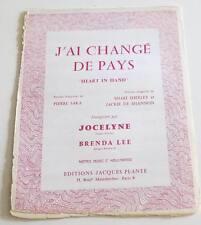 Partition sheet music JOCELYNE : J'ai Changé de Pays * 60's BRENDA LEE