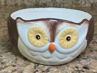 """Woodland Owl Bowl Ceramic Earthenware 3"""" Tall, 6"""" Wide"""