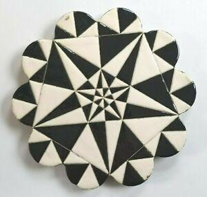 Trivet Turkish Handmade Ceramic Kitchen Hot Plate Black White Art Deco NEW