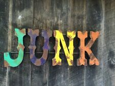 """Large 3D Metal """"JUNK"""" Sign Vintage Inspired Colors - Fun Wall Art- Retro"""