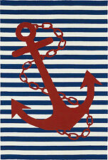 2x3 Nautical Tropical Coastal Beach Anchor Blue Red Indoor Outdoor Area Rug