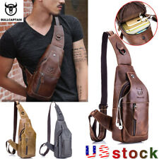 BULLCAPTAIN Men's Leather chest bag messenger casual brand designer shoulder bag
