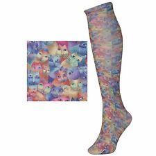 """Laurel Burch Cat Design Knee High Nylon Socks """"Feline Festival"""""""