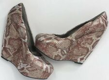 Carlos Santana Copper Snake Print Fate Wedge Platform Pumps Women's 7.5 M   0137