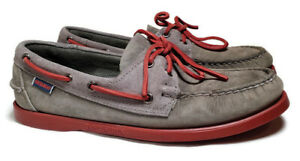 Ronnie Fieg KITH X Sebago Gray Suede Red Sole  Boat Shoes Size 7 1/2 M