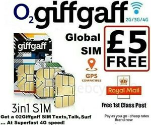 O2Giffgaff Mobile (Plus £5 Credit) Super Talk, Text & Data Pay as you go SIM