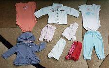 Lot of 9 Baby Girl Clothing Bodysuit Pants Cardigan Jacket 6-12 month