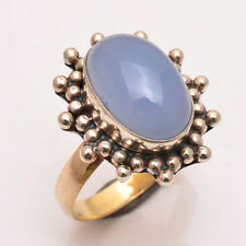 Natural Chalcedony Gemstone Ring Size UK M Handmade Antique Brass Jewelry BRR146
