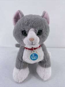 """Build A Bear Gray Plush Promise Pets Kitty Cat 14"""" With Collar & Tag Green Eyes"""