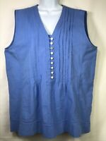 Hot Cotton Marc Ware Blue Sleeveless V Neck Tunic Top XL Pintuck Pleats Buttons