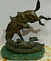 Very Very Heavy Cast Iron Bronco Horse w Cowboy On Green Marble Base Sculpture