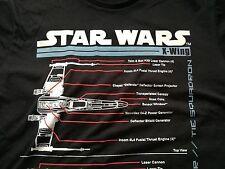 Star Wars X-Wing schématique Blueprint T-shirt noir X Wing Force Réveille Xwing