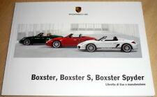 uso manutenzione Porsche (987) BOXSTER Spyder,libretto Italiano Boxster S