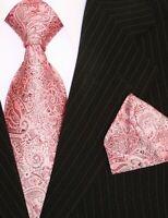 Binder de Luxe Designer Krawatte Einstecktuch Krawatten Set Tie 460 Rosa 2 Tlg
