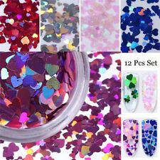 Iridescent Heart Flakes Nail Glitter Sequins Holographic Laser Nail Decoration
