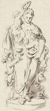 Christian Bernhard Rode, Entwurf einer Statue, Feder, laviert, um 1760