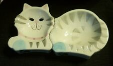 ADORABLE Glazed Ceramic Two-Piece Cat-shaped shallow feeding dishes