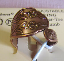 ARTHRITIS Solid Copper Adjustable Rose Flower Spoon  Ring NWT 0923C1